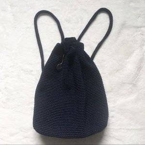 The Sak Bucket Crochet Blue Drawstring Backpack